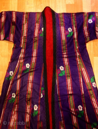 Uzbek silk vintage chapan asian ethnic tribal kaftan 