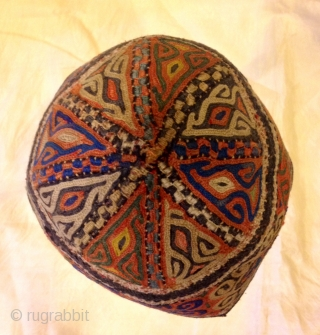 turkmens old vintage hat , antique old fabric , embroidery unisex hat,   accesories hat, decorative hat  ethnic fabric  hat circumference 19 inç. ( 48 cm. )  Small Size   U.S. fast shipping fedex ,extra no charge  ...