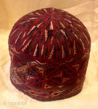 turkmens old vintage hat , antique old fabric , embroidery unisex hat, 