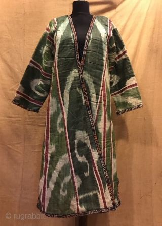 Uzbek Vintage silk ikat chapan clothes, ethnic tribal ikat robe jacket kaftan 