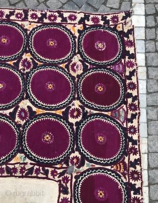 Antique Uzbek leylanabat embroidery Suzani , mihrab suzani cover, bohemian colorful home interior decoration textiles   100% handmade  Size: 235 cm X 135 cm   Suzani  Suzani is a type of embroidered and decorative tribal textile made  ...