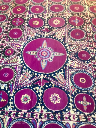 Antique Uzbek silk embroidery Suzani 