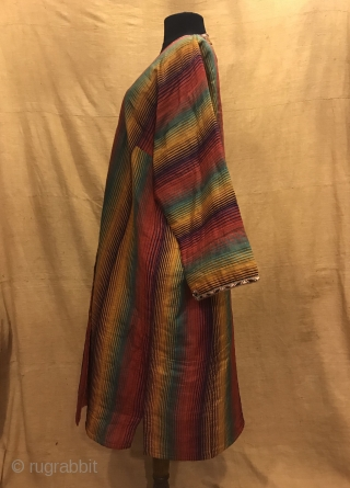 Uzbek Vintage silk ikat chapan clothes, ethnic tribal unique silk robe caftan 