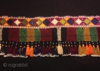 "19.century Uzbek lakai silk and silver tassel exclusive exotic ethnic tribal luxury elegant collection tassel  Size : Height : 25 cm Diameter : 120 cm  100% handmade  VINTAGE UZBEK TASSELS : ""Segusha""( Triangle) is a decorative embellishments, whose  ..."