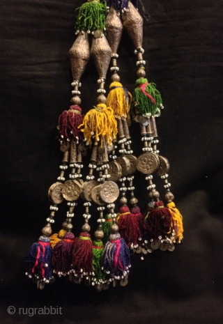 Vintage Uzbek afghan tribal silver tassel