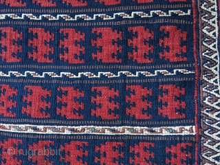 """Afghanistan Baluch kilim salt bag, all wool, goat hair side wrappings, natural colors, great condition.  Circa 1920s. Size: 52 cm x 33 cm (21"""" x 13"""")."""