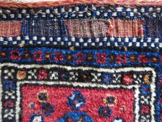 "Qashkai mini tribal pile Bag. Natural colors, great condition with original backing. Circa 1900 or earlier. Size: 26 cm x 24 cm (10"" X 9.5"")."
