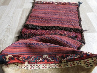 Turkmen Ersari saddlebag. Very fine pile skirt and corners. Great saturated colors. It has some stains in the back as can be seen in the last photo. Circa 1910-20s.  Size: 50 cm x  ...
