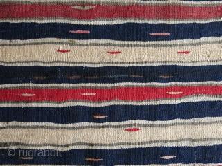 """Minimalist mini Bijar kilim with natural colors and wool on cotton.  Size: 23.5"""" x 35.5"""" (59 cm x 90 cm)."""