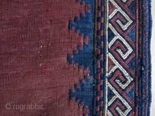 "Antique Afshar sofreh. Size: 111 cm x 108 cm (43.5"" x 42.5"")."