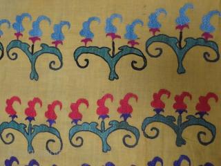 """Antique Tashkent suzani. It has couple spots patch repairs. Size: 196 cm x 123 cm (77"""" x 48"""")."""