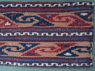"Shahsavan mini chanteh. Soumak weave with natural colors. Circa 1900. Size: 19.5 cm x 11 cm (7.7"" x 4.2"")."