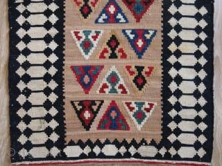 "Qashkai tribal kilim migration cargo bag end panel. All wool with natural colors. Circa 1920s. Size: 99 cm x 46 cm (39"" x 18"")."