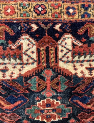 "NW Persian Kurdish Sanjabi Bagface. Has some old moth damage, clean and glowing wool and colors. 22"" x 21"" - 56 x 53 cm."