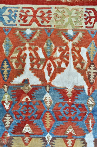 Central Anatolian small kilim, mounted on linen - 3'0 x 4'10 ft. - 91 x 146 cm.