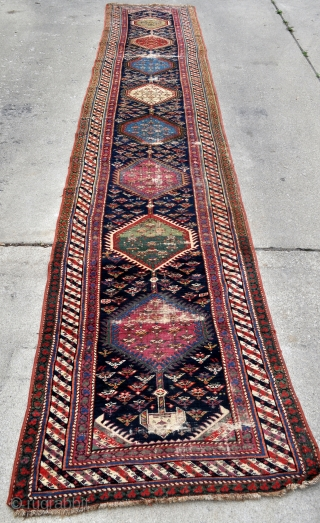 Antique Karabagh Long Runner - about 3' x 16' / 90 x 490 cm. Needs lots of TLC, could be restored and needs blocking, contact for details and more pictures.