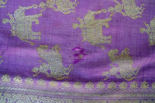 Brocade Sari, 115x450cm, North India, probably Varanasi. Early 19th century Silk, metal threads Good condition for this age, 3 small holes, somehow brittle Please visit my website www.m-beste.de