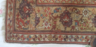 An early 19th century Melas rug.Great antique rug ready to hang or use on the floor. Much of the central Mihrab has been rewoven hence the very low price. grab a bargain  ...