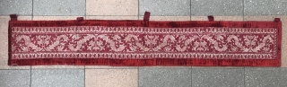 Rare and beautiful Azemmour Embroidery mounted on a nice red textile. Size : 152X18cm circa : 17th century . Morocco . Price : 1500 euro+shipping from Paris.