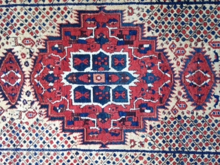 September sale : Very pretty and character Afshar rug with good wool , Cotton warp , Circa : early 20th ! dated . Don't ask me more photos about please . Thanks . Never repaired . Size  ...