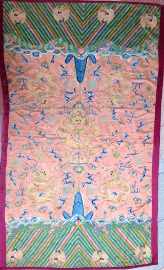 A beautiful Embroidery Panel , Silk and metal , Probably made from a 19th Robe . Size :  186x116cm