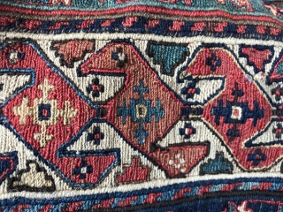Exceptional Shahsevan bag from NW Iran Khamseh region, C 19Th size : 57x54cm,  Eagle group as you see in center.  it has been used as a cushion in a French good house.  ...