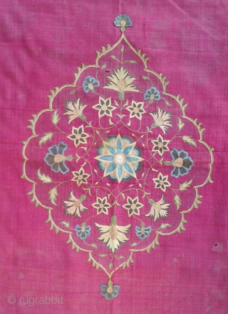 Beautiful Indian Silk embroidery ( Kujarat ) fragmentery transformed to a Summer carpet but it was probably a lrger bed cover as origin ! 