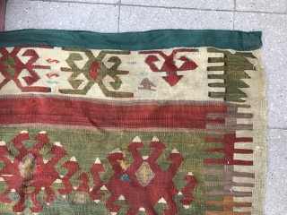 Fragment of an Anatolian kilim so called Saf . Cool piece ! Size : 182x122cm