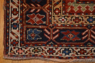 "ANTIQUE SHIRVAN / MARASALI PRAYER RUG.  Pretty little weaving.  Nice overall pile, but with several older, not bad, repairs. Good wool. The pink is a nice touch.  37 1/4""  ..."