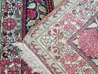 kirman laver pair dated 1333 Hijri excellent condition pictorial Shah Abbas  size 90x61 cm