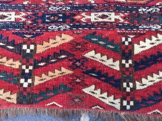 Turkmen chuval late 19th century with very nice colors yellow,green and blue. excellent condition only very small old repair in the corner. size 120x76 cm