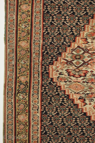 Early Antique Senneh Kilim. Circa 1850. Northwest Persia. 4-5 x 6-5 ft. Some minor old repair (selvedge and slightly in the field).
