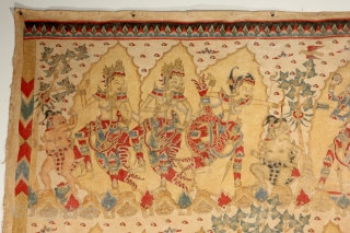 """Balinese Story Cloth. 4-9 x 4-11 ft. Early 20th Century. """"Balinese story cloths functioned as ceremonial or celebratory offerings at religious festivals and life-cycle events. At their height of production in the  ..."""
