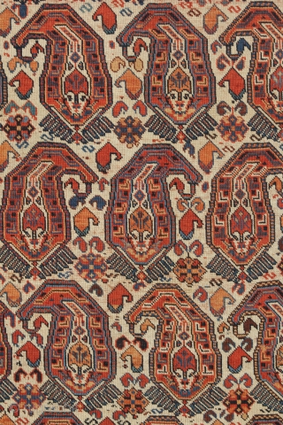 Southpersian rug with large Booteh design, from the late 19th century. 4-10 x 6-6 ft.