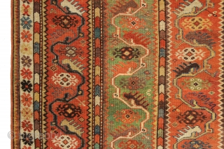 A design I have only seen a few times in my life, this rare and very early Milas rug was woven in Southwest Anatolia, circa mid 19th century. Measures out  4-2  ...