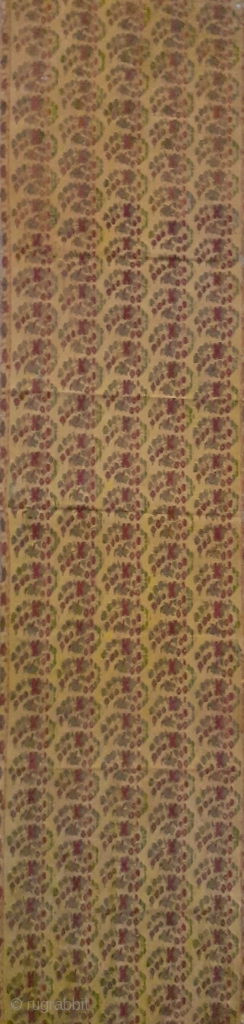 Antique Indian woven Kashmir shawl fragment. very rare pattern, 40x10inch