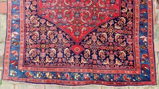Bidjar-- 3.9 x 5.8. Cherry Red. Finely knotted and tightly packed. Unique composition in not having an interior hearth medallion. Formal yet still tribal in character. CONDITION: Near mint, no apologies.   ...