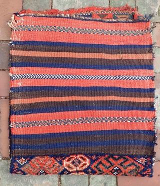 Kurd-- 20 x 23. Traditional Kurdish format with the piled strip at the bottom. Look at the flat weave work carefully. Wonderfully quirky tribal. Very interesting old  collector piece. But you  ...