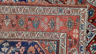 Northwest/ Kurd/ Heriz c. 1900-- 4 x 6.10--  If this were on cotton rather than wool foundation I might call it Heriz based on weave which is double weft and depressed  ...