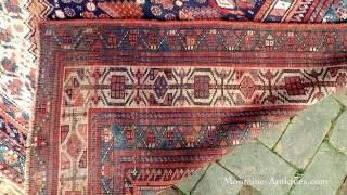 Kurd/Sauj Bulag-- 5 x 9.4. Main Carpet medallion piece with white corners. This rug has the sort of iconography you see in bags and smaller pieces. Very Interesting and decorative. CONDITION: A  ...