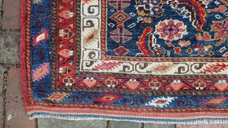 Kurdish Choval--  22 x 51 inches. Bright, plush, colorful old piece in near mint condition. Elements of design and other things suggest Veramin area. The weave is more typical of northwest  ...