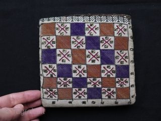 Ottoman silk and metallic embroidered hand bag. Some stains inside and some wears as can be seen on photos.