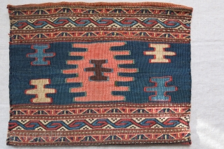 "Caucasian Sumak kilim/ sumak bag with original backing. Small reapirs on back side. Saturated natural colors. Circa 1900 or earlier Size : 14"" X 11"" - 36 cm X 28 cm"