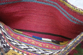 """Persai - Veramin area possibly Kurdish kilim woven bag with original backing. Saturated natural dyes. small repairs on opening part slits. Circa 1900 or earlier  Size: 16"""" X 14"""" - 41  ..."""