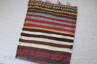 Southwest Persia - Qashkai tribal shoulder travel bag, not a singe side of a double bag, extra weft weave - lade. great condition and natural dyes. Circa 1900 or earlier - size:  ...