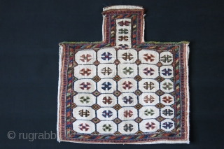 "Southwest of persia, Baktiari tribal Saltbag, wool sumak weave on cotton. natural colors from vegetable dyes. Circa 1900 size : 25"" X 24"" - 64 cm X 61 cm"