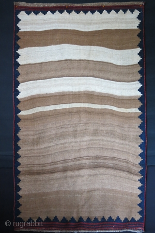 Qashkai tribal kilim / sofreh More camels than sheep- she must run out of natural ivory wool and had to compete with camel hair. very good condition- couple small holes restored very  ...
