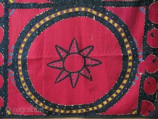 "Uzbekistan - Tahskent Palak suzani. Made as a Curtain Natural colors. Circa 1900 or earlier Size: 49"" X 90"" - 125 cm X 230 cm"
