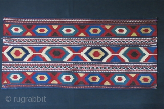 "Shahsavan kilim / sumak bedding bag side panel. Small repairs, good colors.. Circa 1900 - size : 43"" X 19"" - 110 cm X 49 cm"