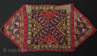 "Antique Turkmen Tekke camel trapping fragment.   Fine silk embroidery.   Size: 8"" x 16"" - 20 cm x 41 cm."